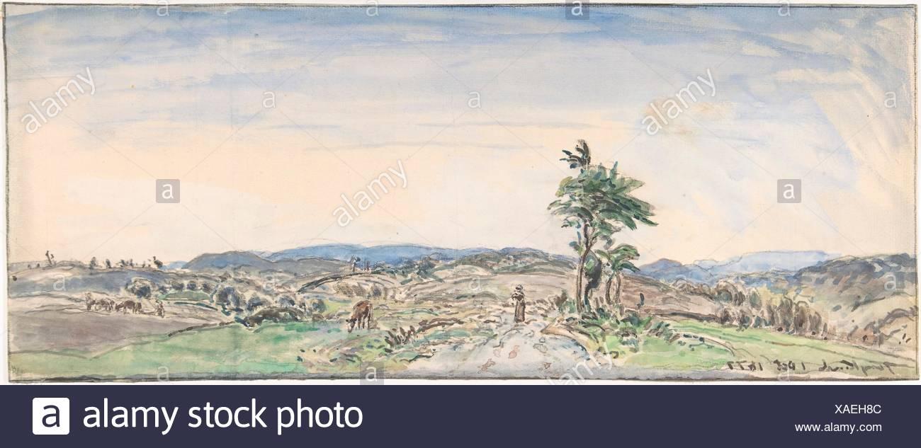 Landscape. Artist: Johan Barthold Jongkind (Dutch, Latrop 1819-1891 La-Côte-Saint-André); Date: 1834-91; Medium: Watercolor over black chalk. Framing - Stock Image