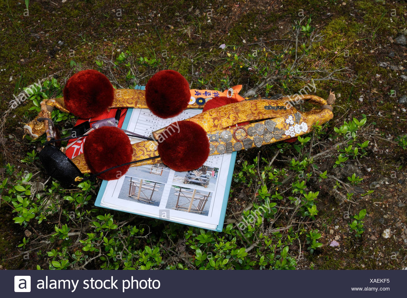 Sash and pompons, with the color denoting the sacral rank, Shogoin Temple near Kyoto, Japan, Asia - Stock Image