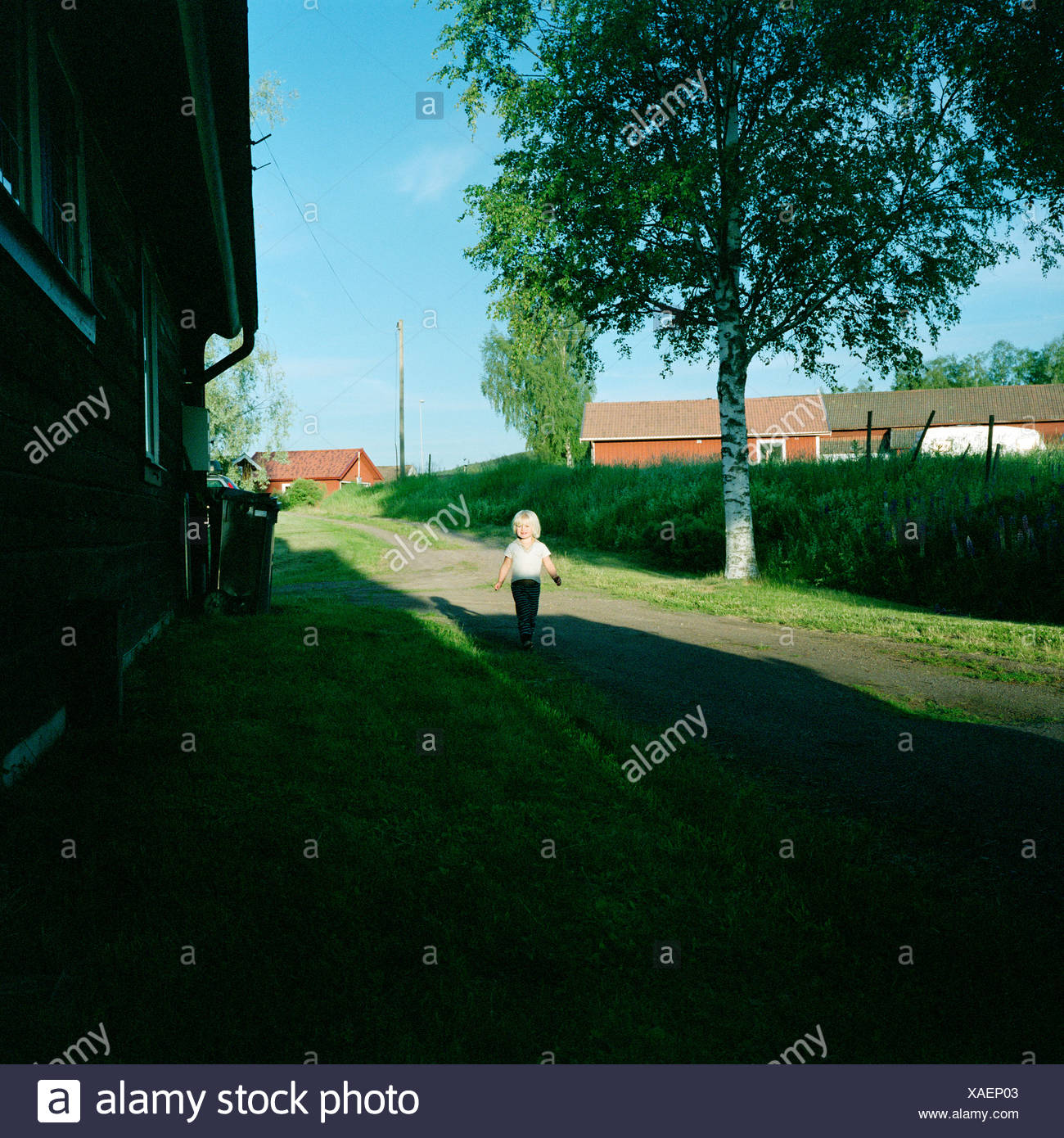 A girl on a gravelled road, Dalarna, Sweden. - Stock Image
