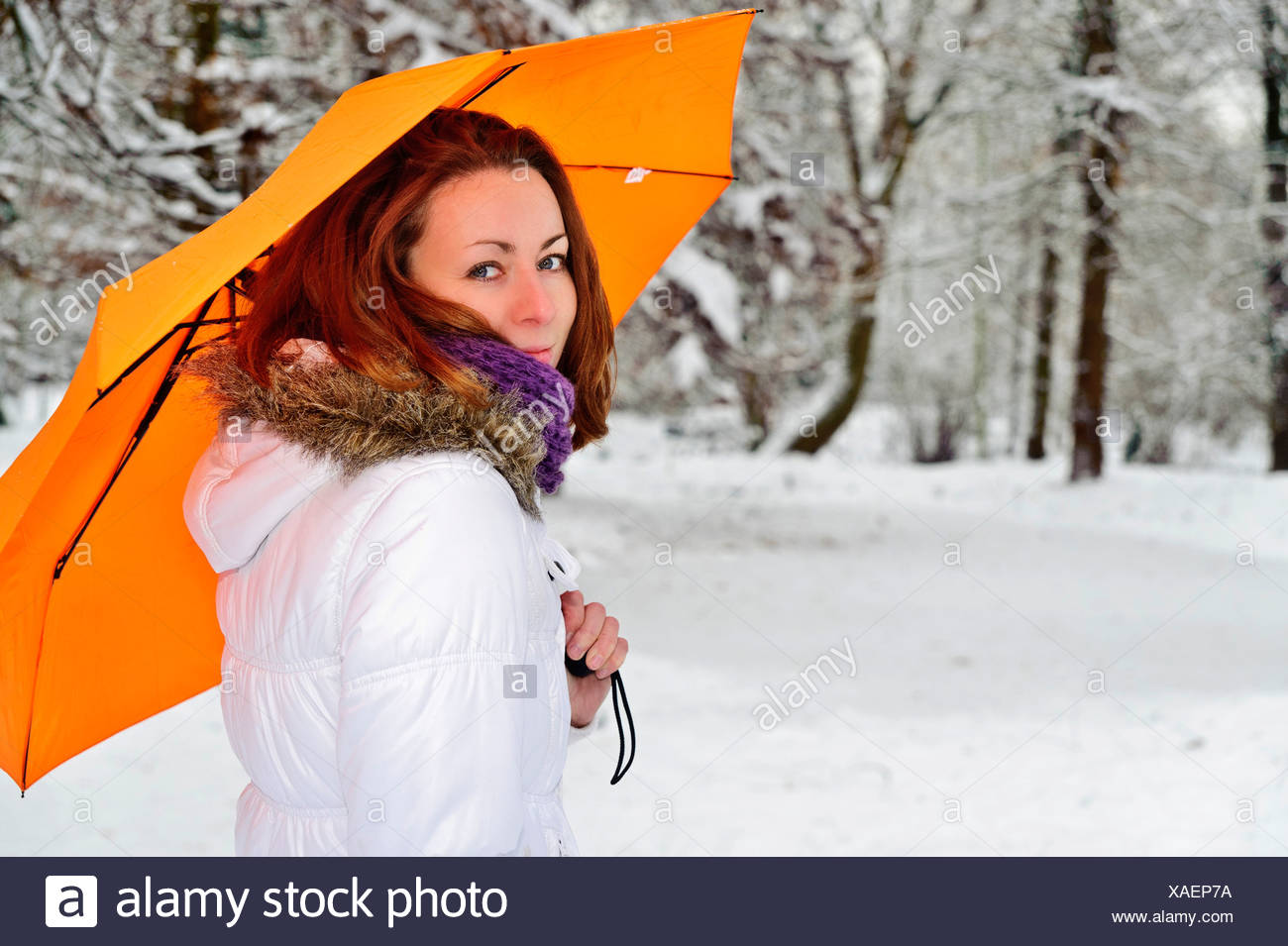 Young woman holding a yellow umbrella in a wintry forest - Stock Image