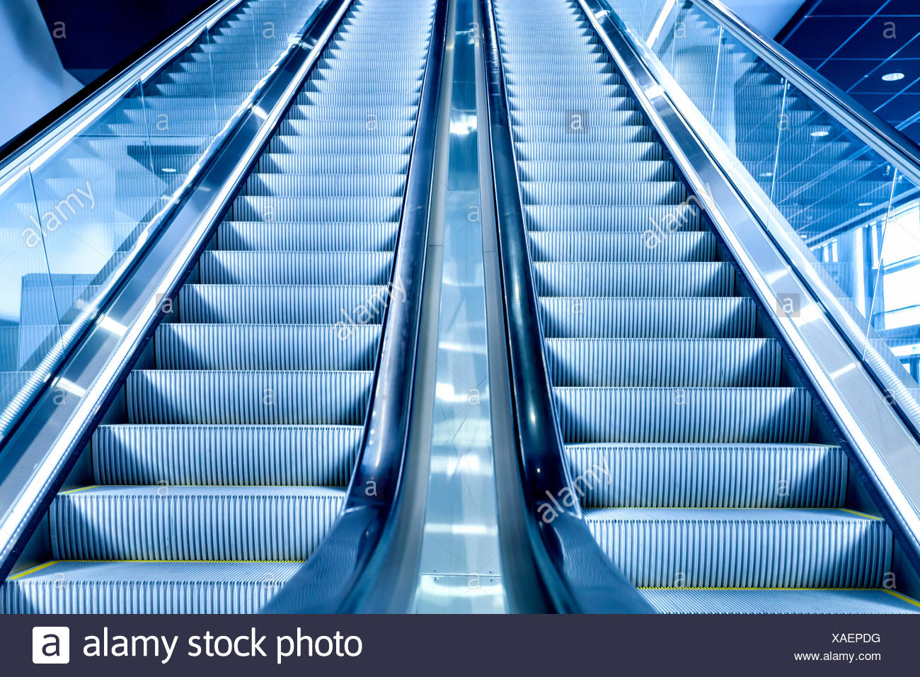 Escalator, Frankfurt am Main, Hesse, Germany - Stock Image