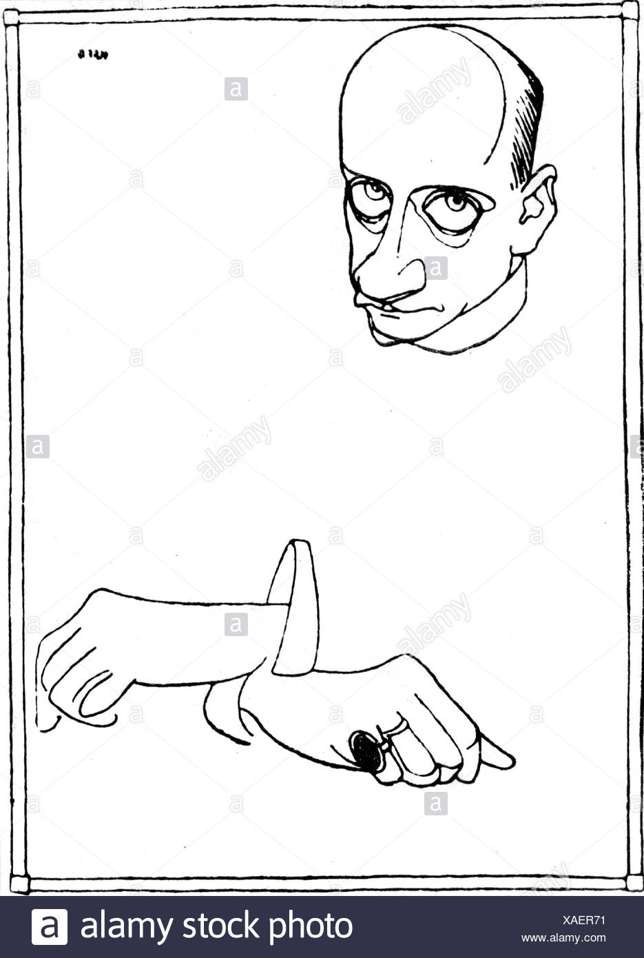 Meyrink, Gustav, 19.1.1868 - 4.12.1932, Austrian author / writer, caricature by Olaf Gulbransson, Additional-Rights-Clearances-NA - Stock Image