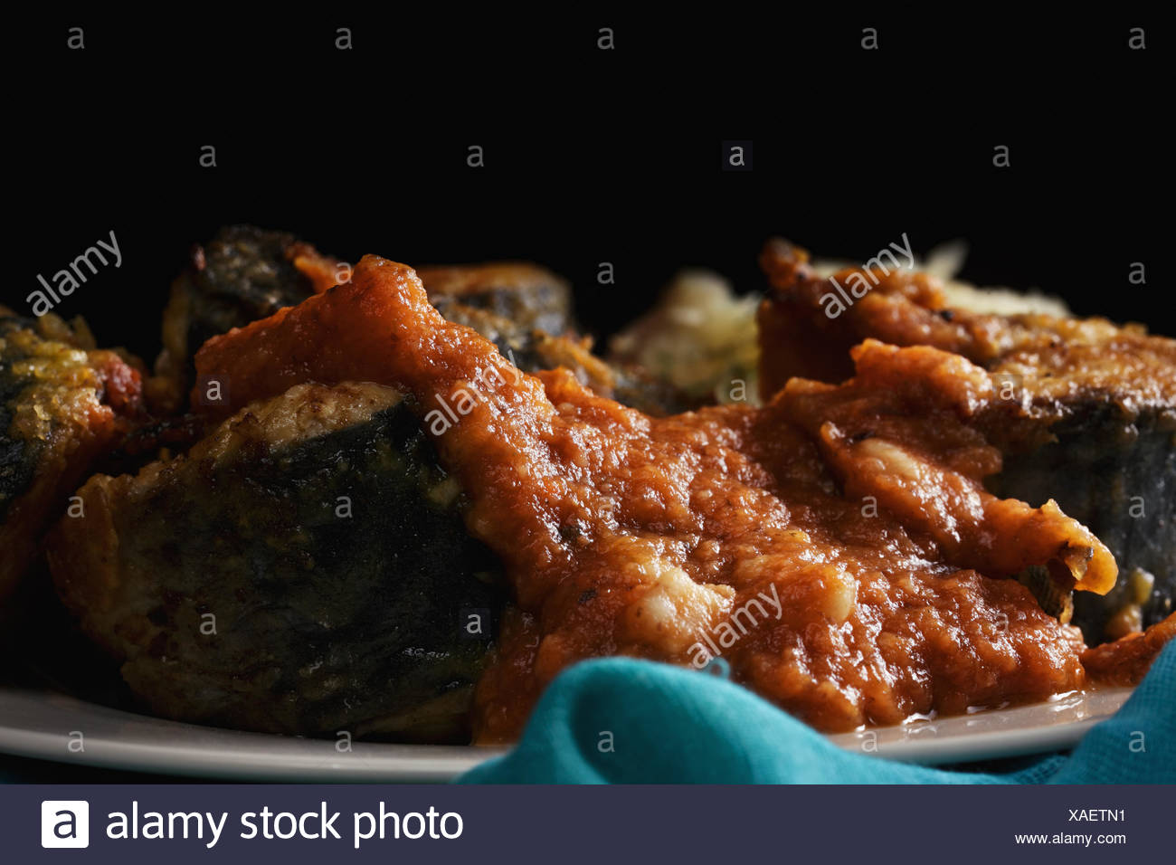 Fried mackerel in darkness closeup - Stock Image