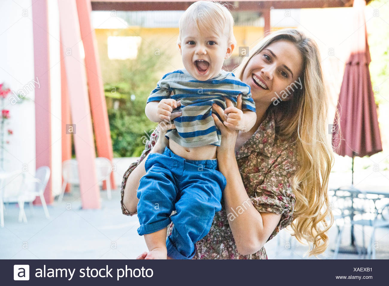Portrait of mother and child (12-17 months) - Stock Image
