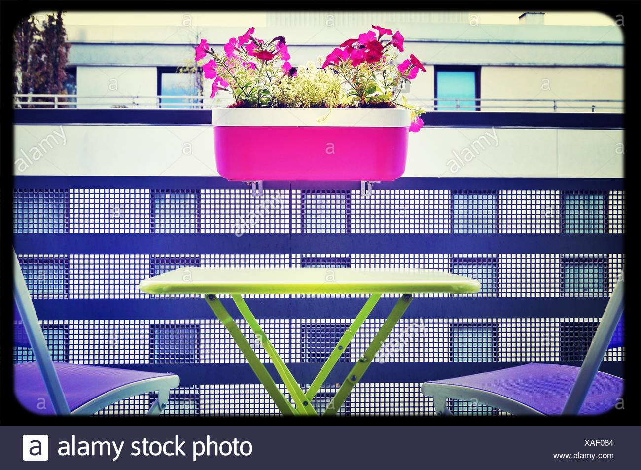 View Of Table And Chairs With Flowers In Window Box - Stock Image