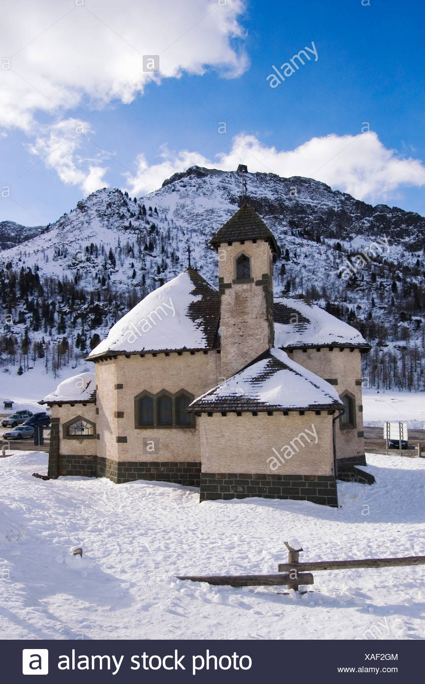 Passo San Pellegrino Trentino Italy church of the pass unter the Col Margherita mountain Stock Photo