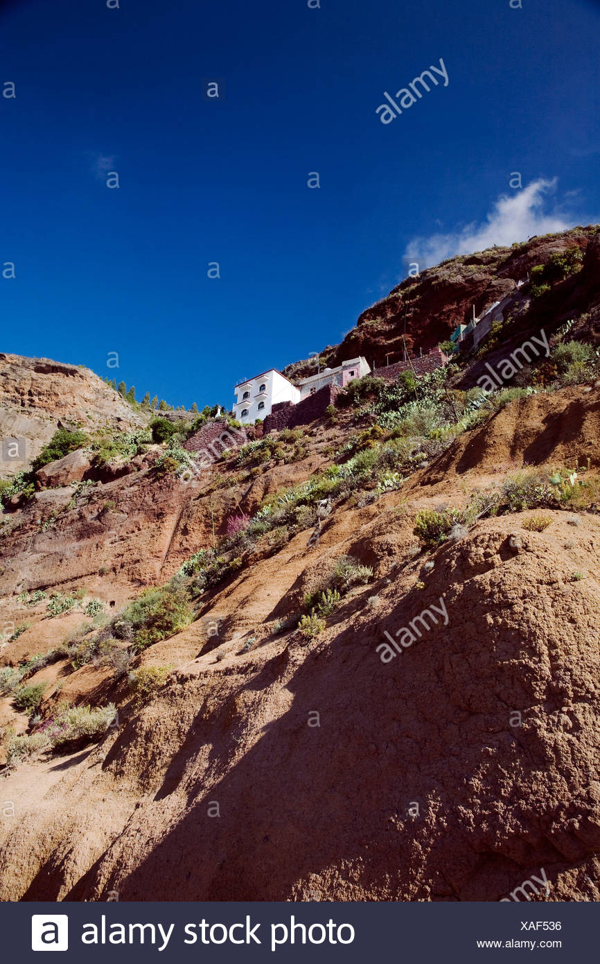 Mountainside house in the mountains of Gran Canaria, Canary Islands, Spain, Europe Stock Photo