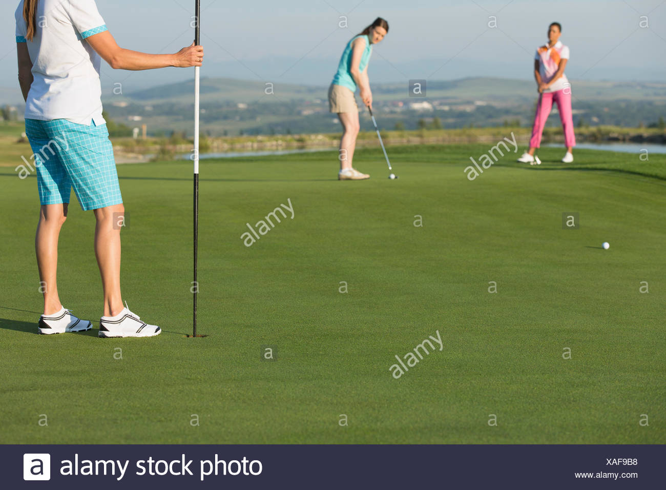 female golfer putting on golf green - Stock Image