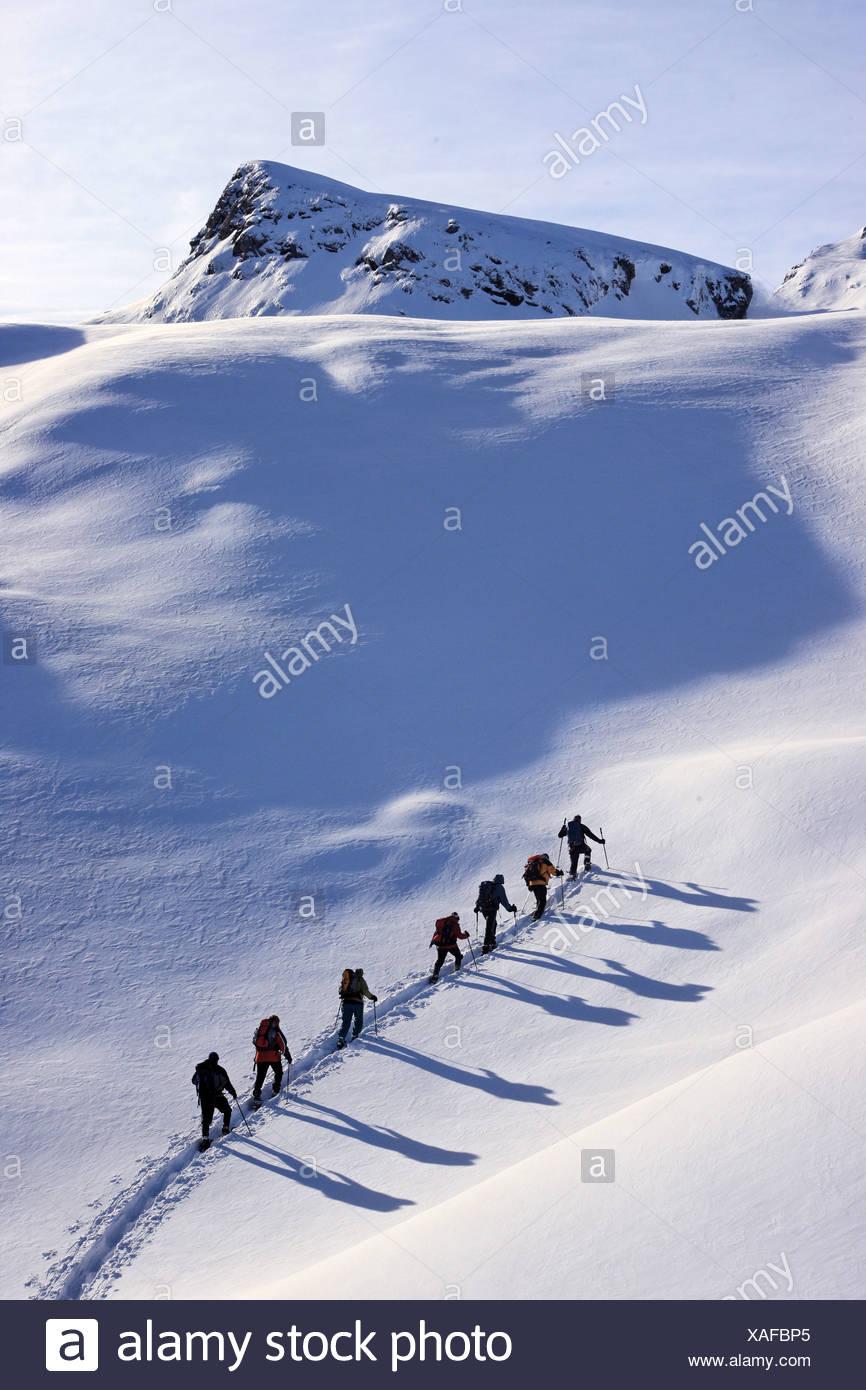 Switzerland Europe Riemenstalden valley Canton Schwyz Canton Uri Winter Snowed-in Snow Slope Mountain Mounta - Stock Image