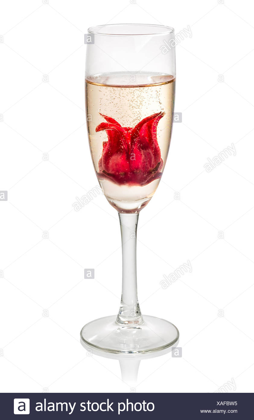 Champagne Cocktail With Hibiscus Flower Stock Photo 281851057 Alamy