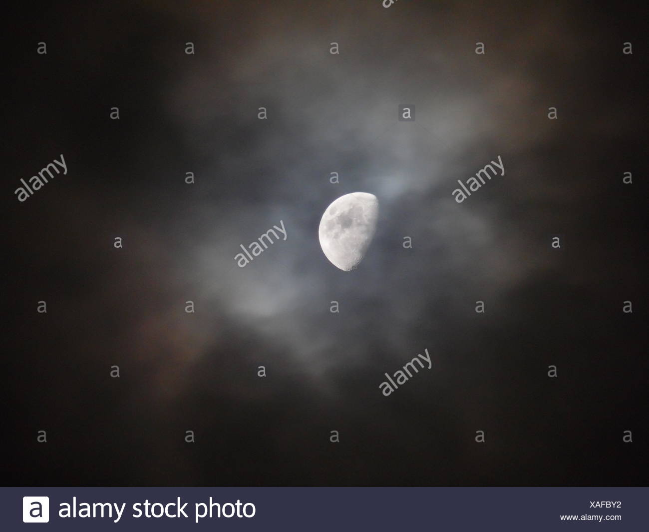 Scenic View Of Moon At Night - Stock Image