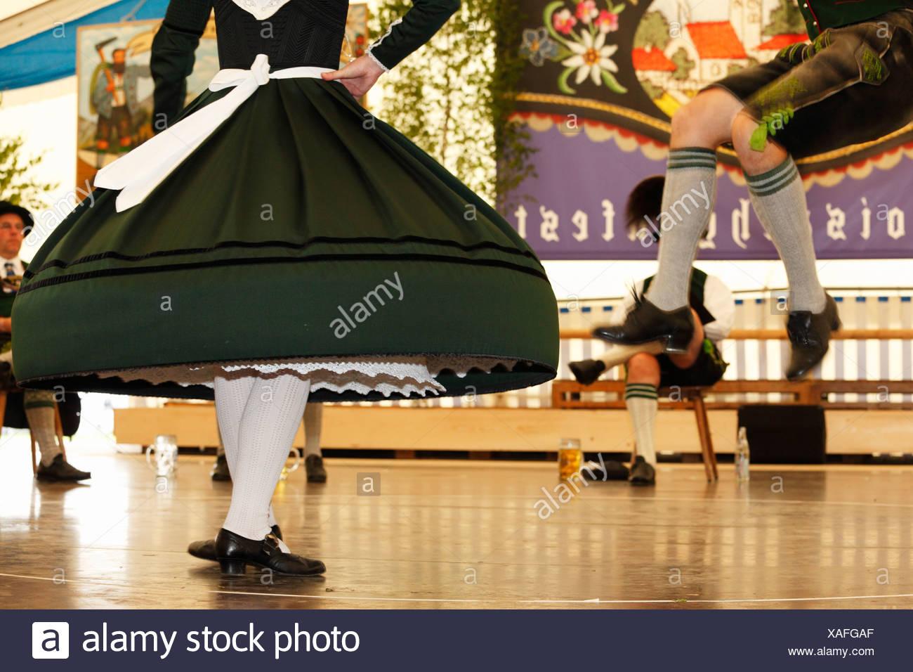Schuhplattler, traditional folk dancers, 83rd Loisachgaufest in Neufahrn near Egling, Upper Bavaria, Bavaria, Germany, Europe Stock Photo