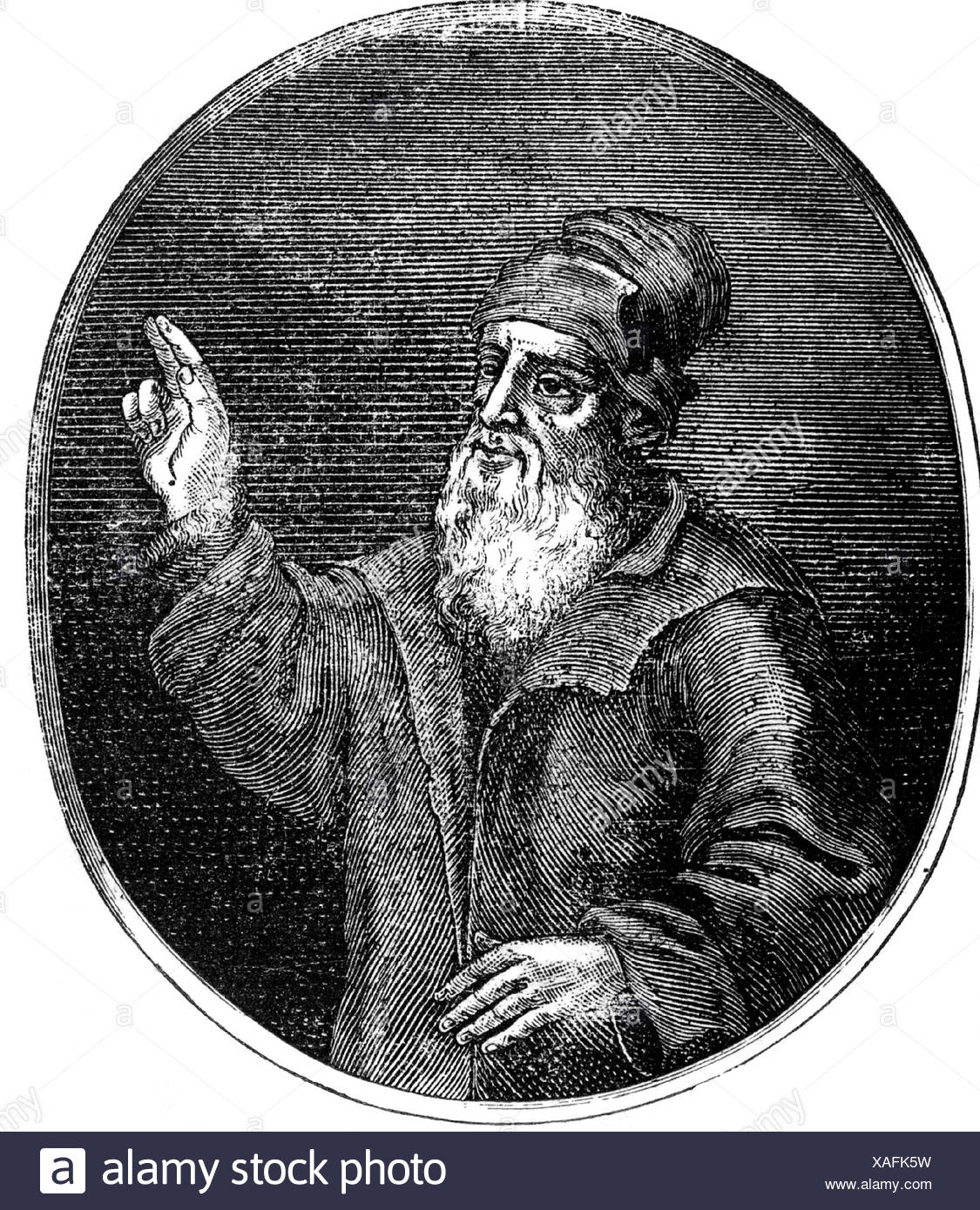 Schedel, Hartmann, 13.2.1440 - 28.11.1514, German physician, humanist, historian, half length, oval, wood engraving, 19th century, after contemporary illustration, Artist's Copyright has not to be cleared - Stock Image