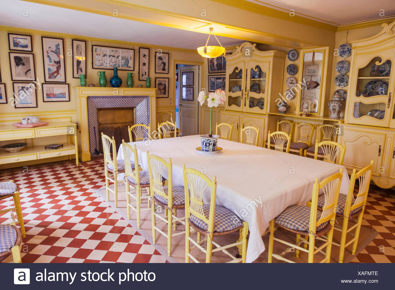 France, Normandy, Giverny, Monets Garden, Monet\'s House, The Dining ...