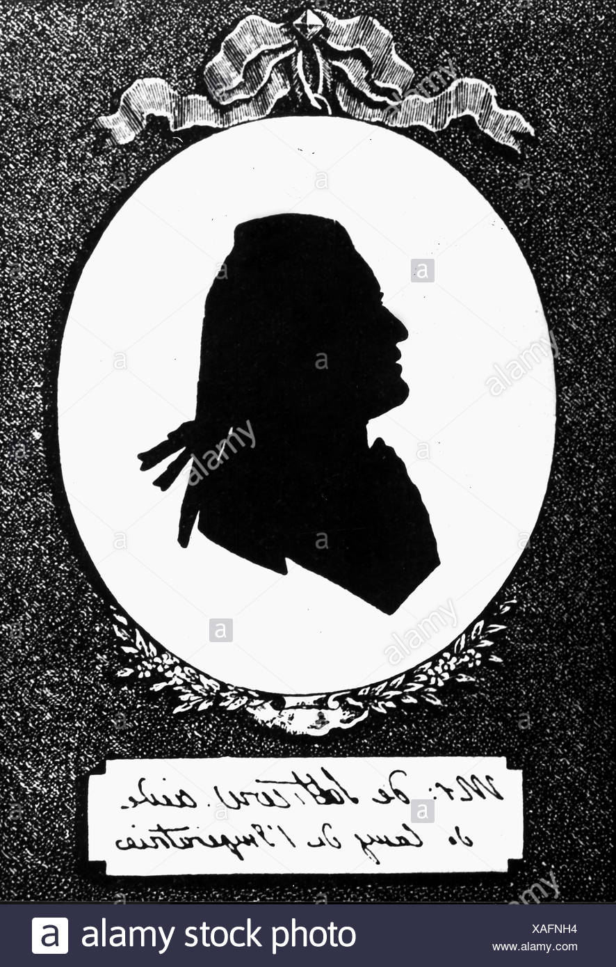 Saltykov, Sergei Vassilievich, 1726 - 1769, Russian courtier, portrait, silhouette, 18th century, , Additional-Rights-Clearances-NA - Stock Image