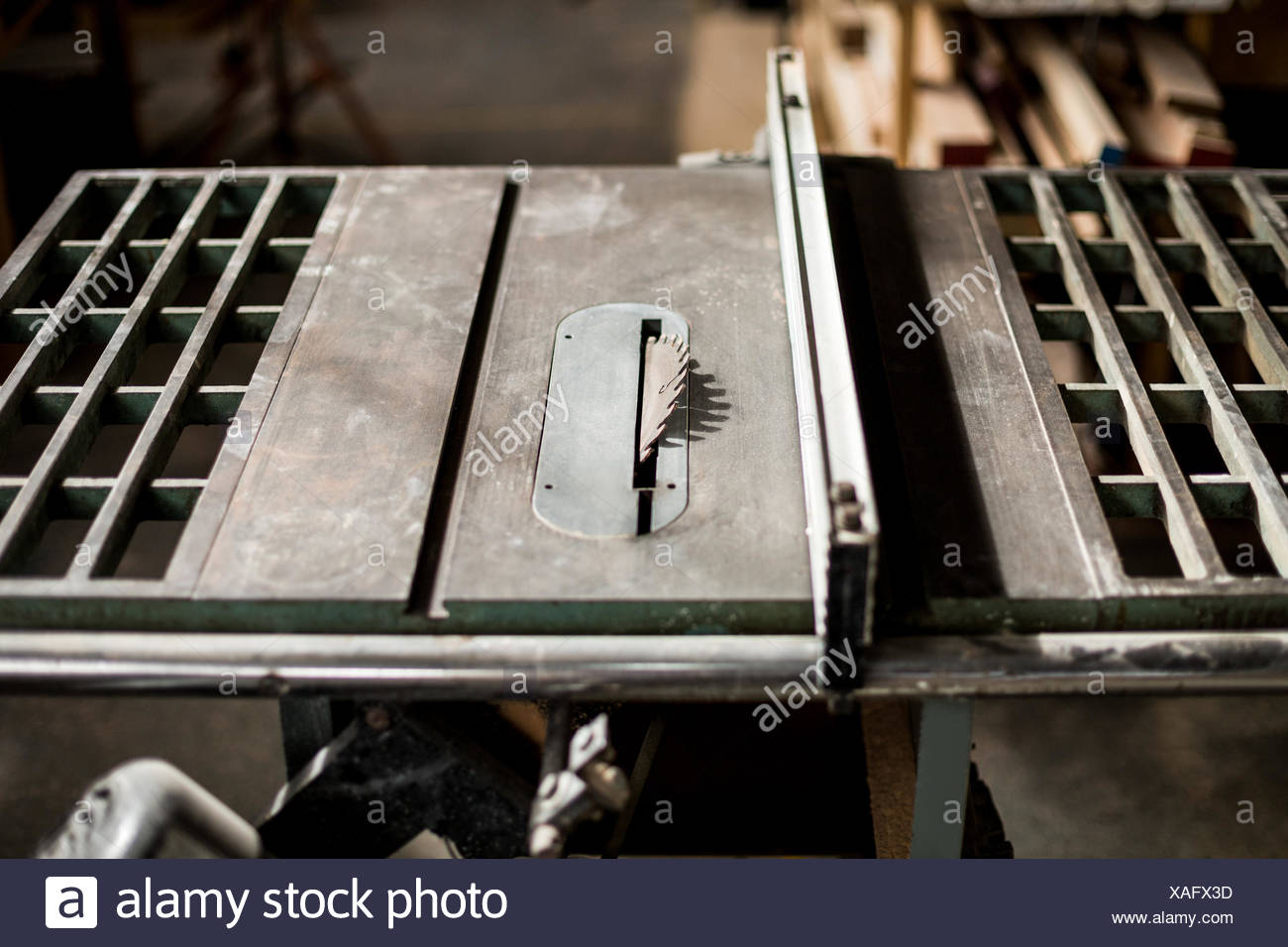 Close-up of woodworking machinery - Stock Image