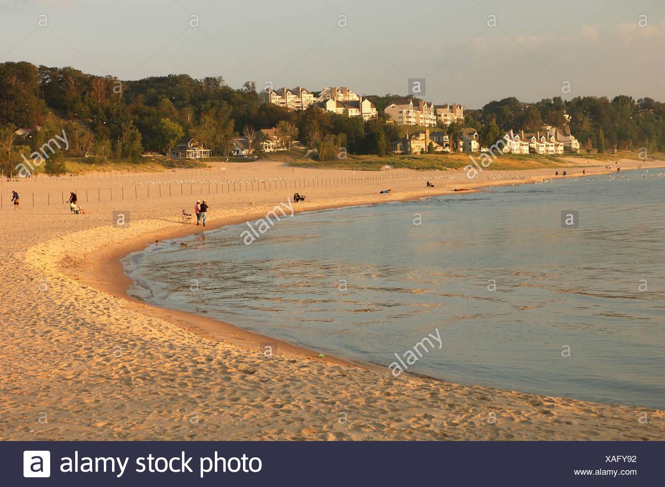 Sand Beach Beach Seashore Person Lake Shore Shore Mood Lake Michigan