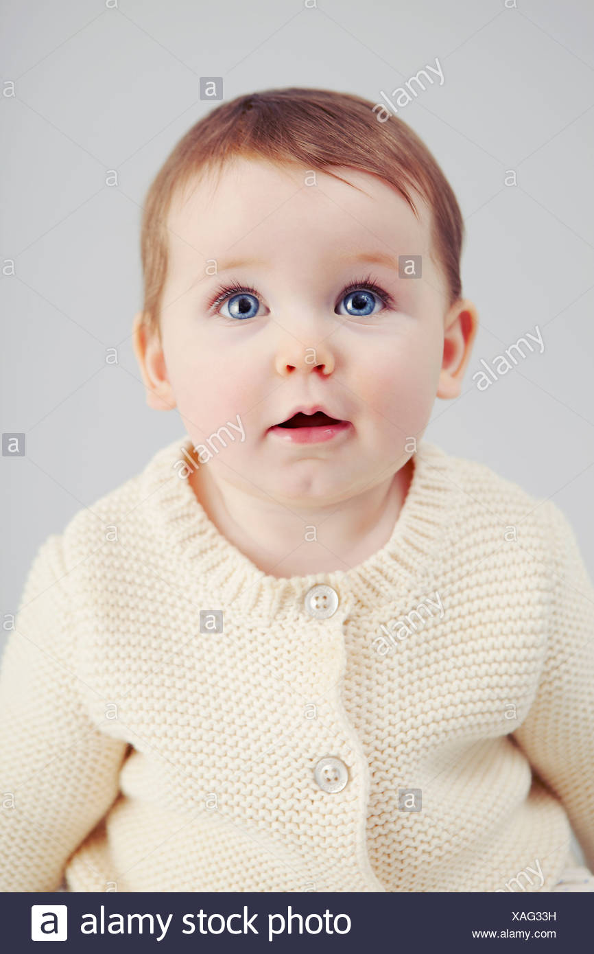 Close up of baby girls face Stock Photo