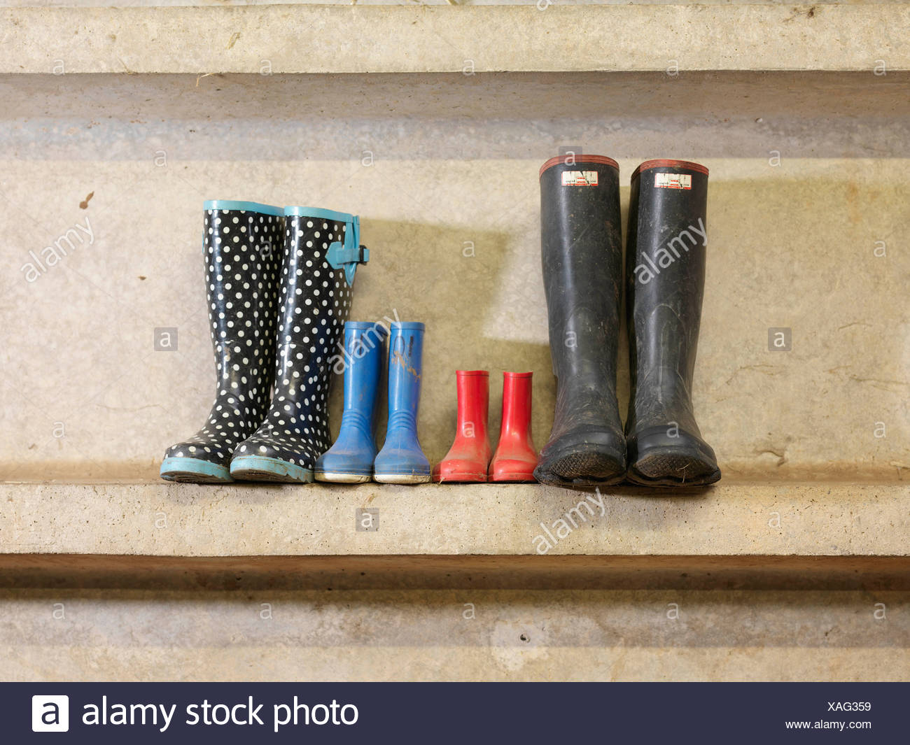 Four Pairs Of Wellington Boots Stock Photo