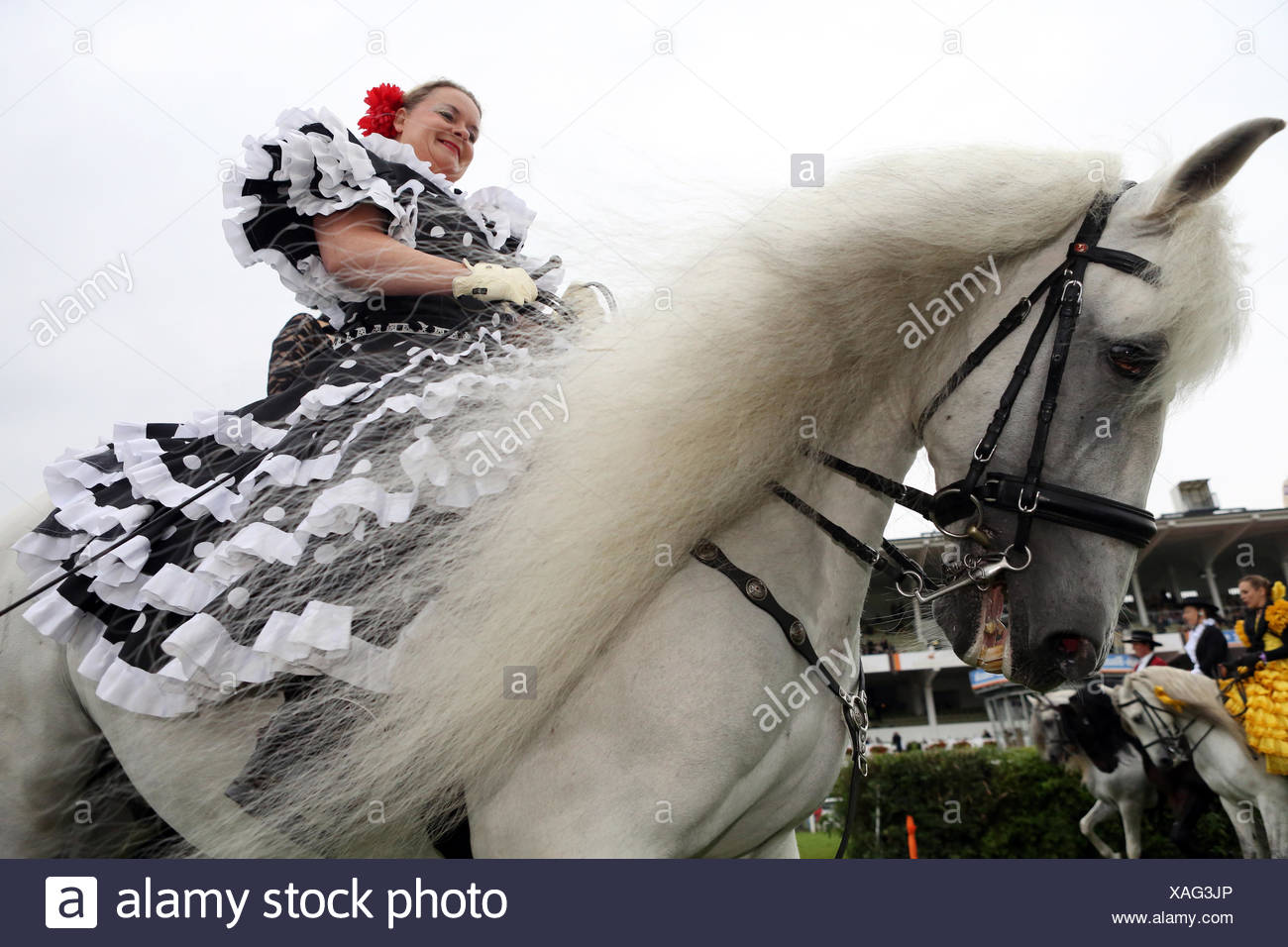 Hamburg, Germany, rider in national dress sitting on a Spanish Andalusian Stock Photo