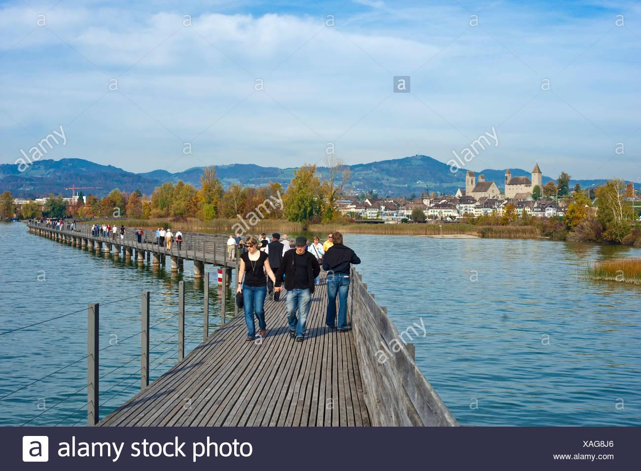 Lake Zurich, St. James' Way, Rapperswil, Sankt Gallen, Switzerland, Europe - Stock Image