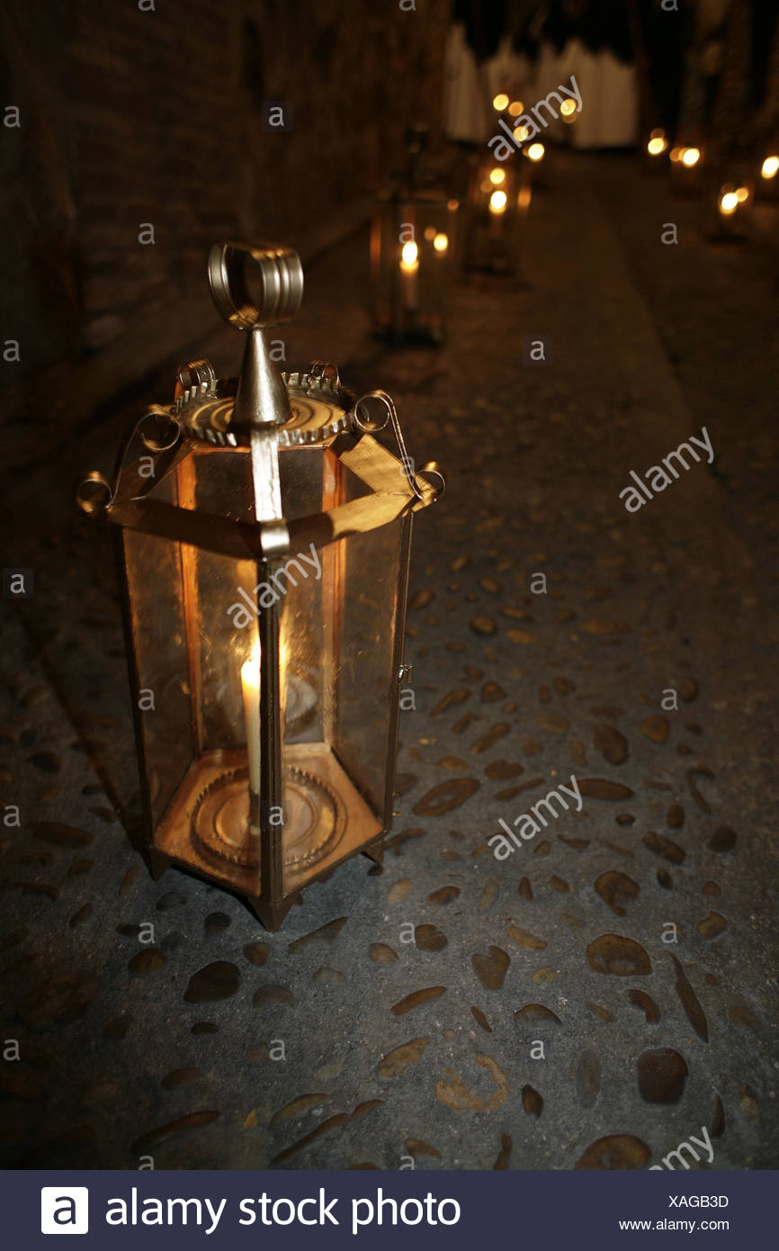 Spain Kastilien-La Mancha Toledo lane footpath processional way lanterns night tradition traditions religiously like of a Christian Easter way ... & Spain Kastilien-La Mancha Toledo lane footpath processional way ...