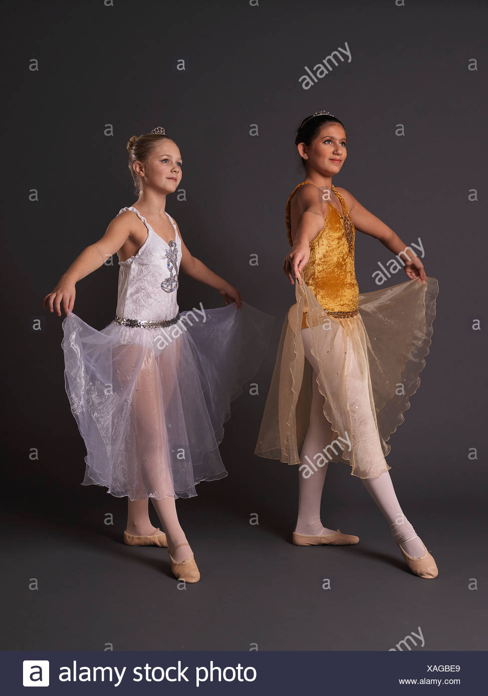 Two ballerinas facing camera left. - Stock Image