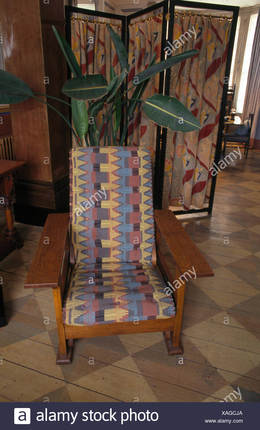 Close-up of an Arts+Crafts chair with an upholstered seat - Stock Image