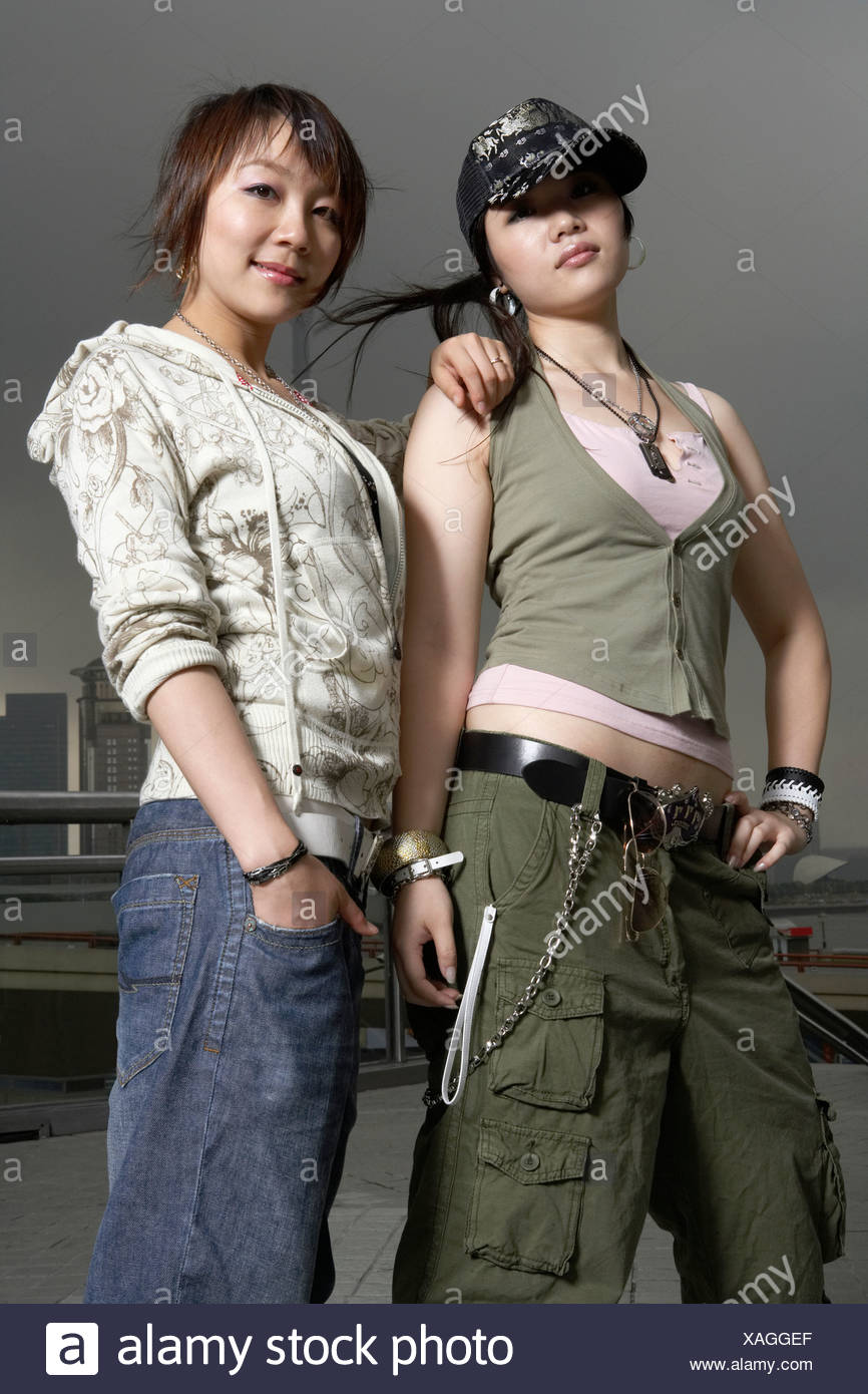 Teenage Girls With Cool Attitude In Shanghai Stock Photo