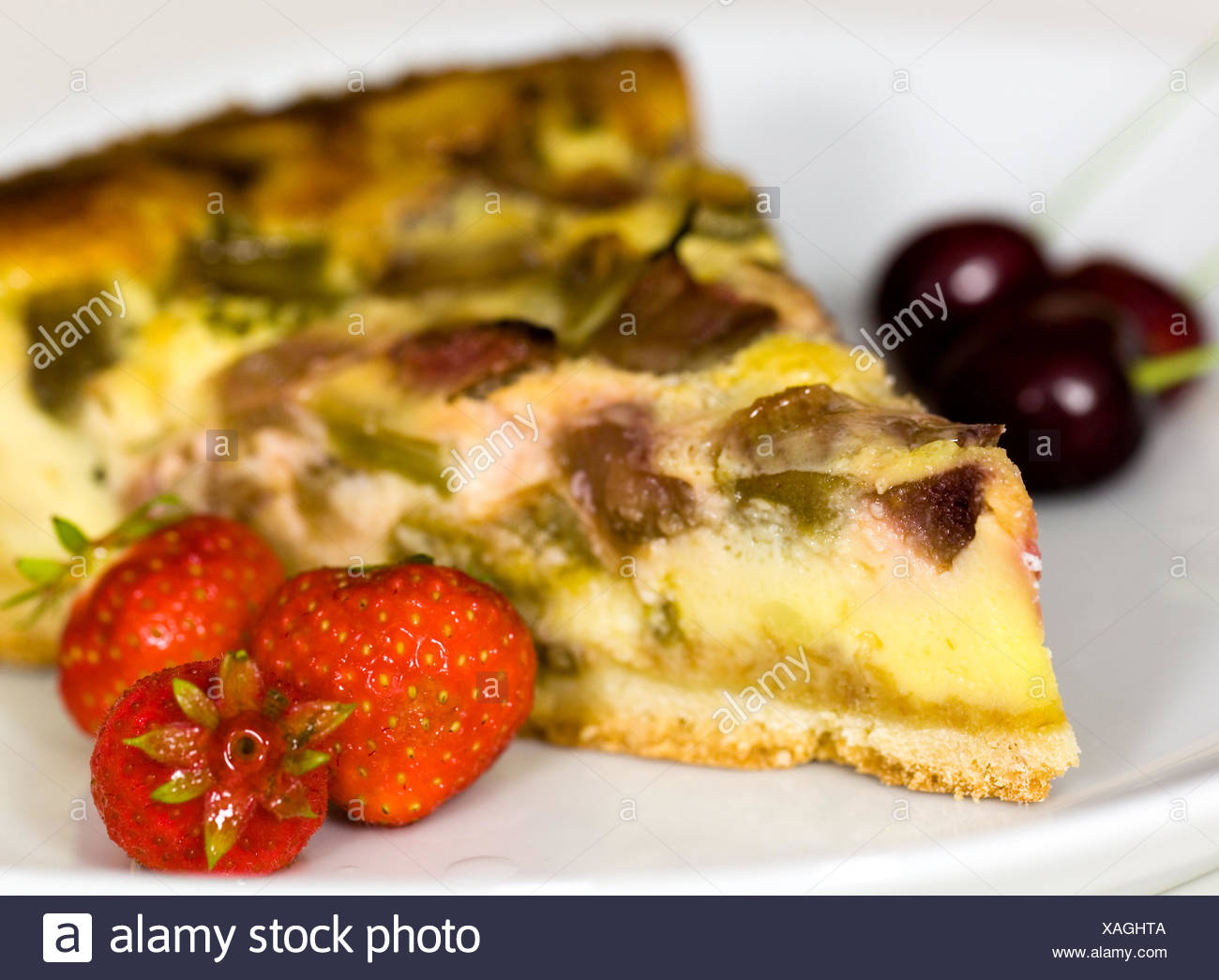 cake from the rhubarb,rheum rhabarbarum - Stock Image