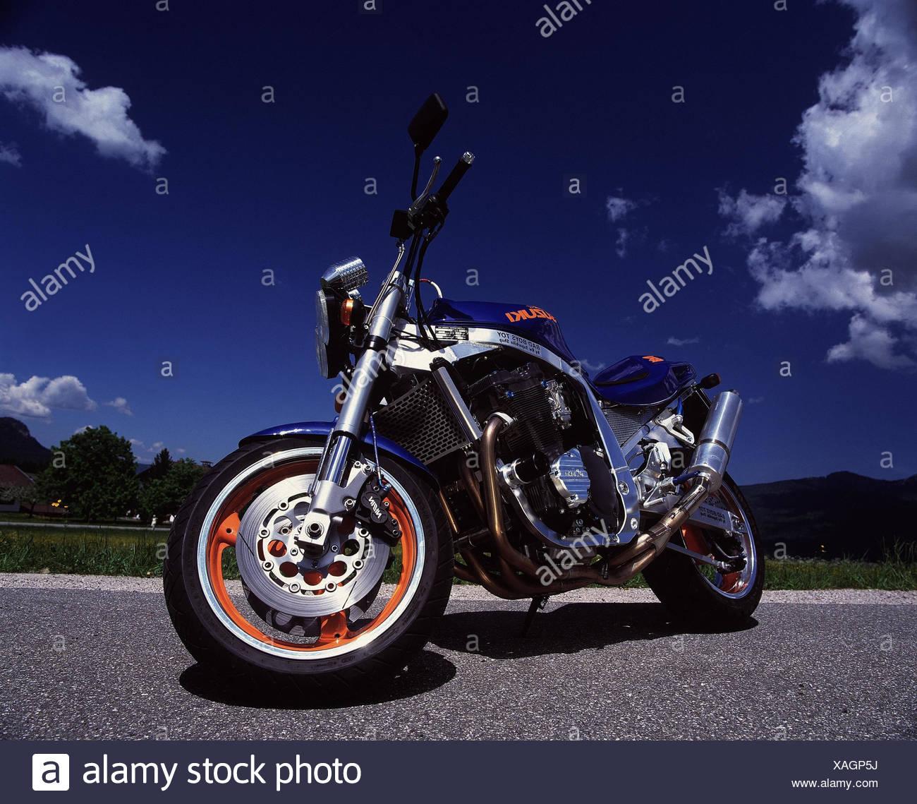 Motorcycle, Suzuki, GSX R 1100, superbike RW mood, outside, 2 force, motorcycle, automobile, motorcycle type, tuned - Stock Image