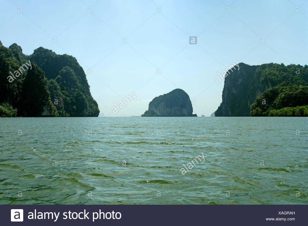 Rock Formations with Emerald Water Nang Krabi Province ; Thailand ; South East Asia - Stock Image