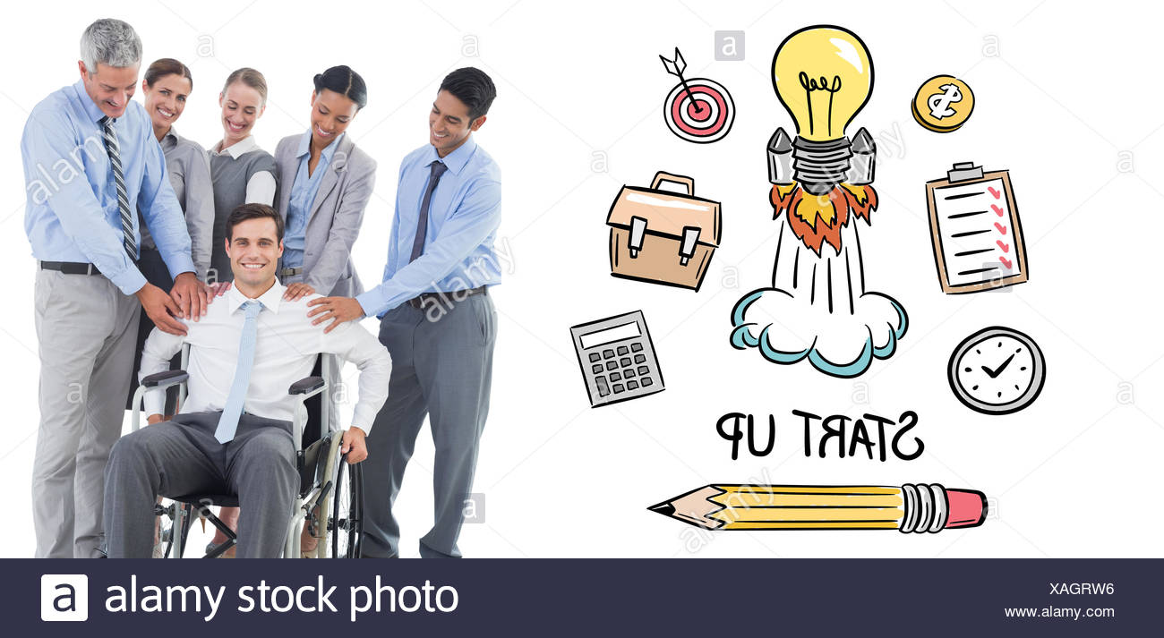 Composite image of business people supporting their colleague in wheelchair - Stock Image