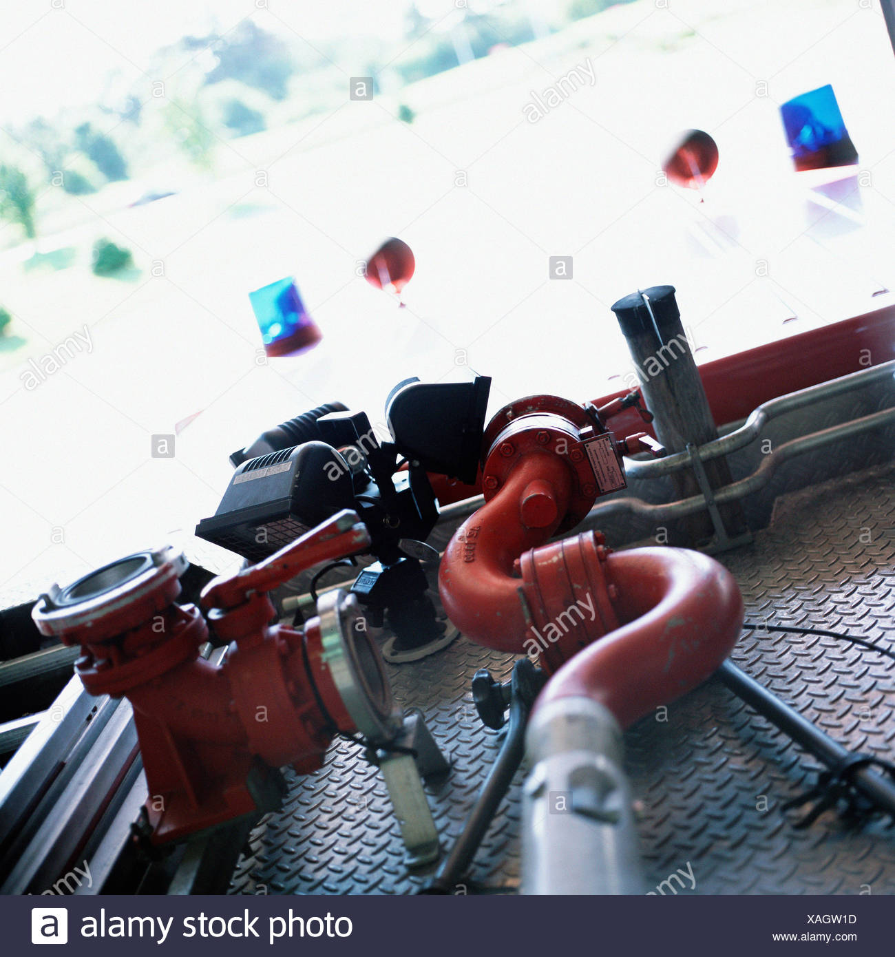 Hoses on fire-engine - Stock Image