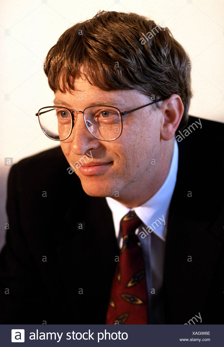 Gates, William, 'Bill', * 28.10.1955, American entrepreneur, (computing), co-founder, of Microsoft, Portrait, Munich, 1995, , Additional-Rights-Clearances-NA - Stock Image