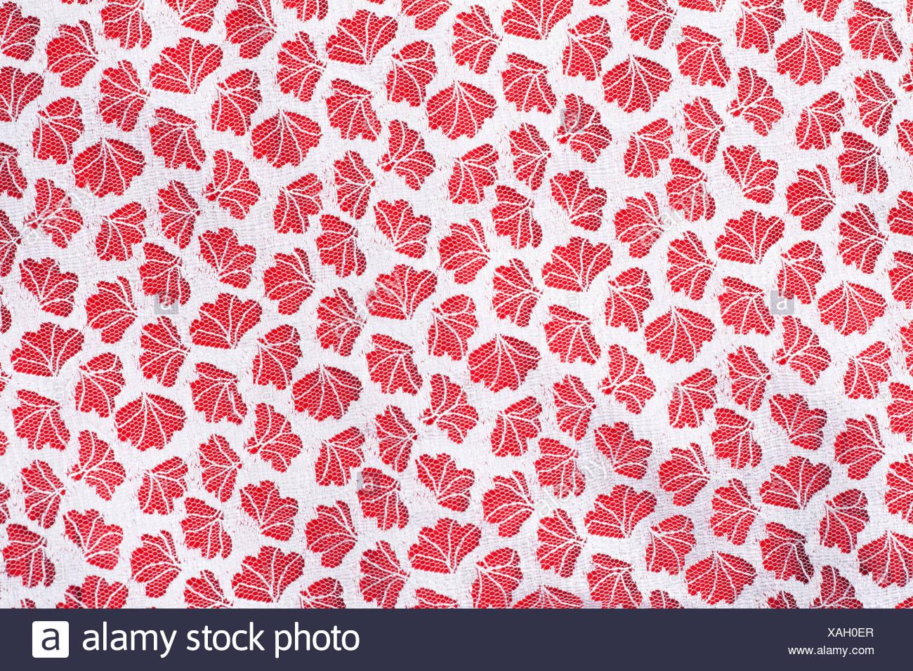 Tulle fabrics on red, background Stock Photo