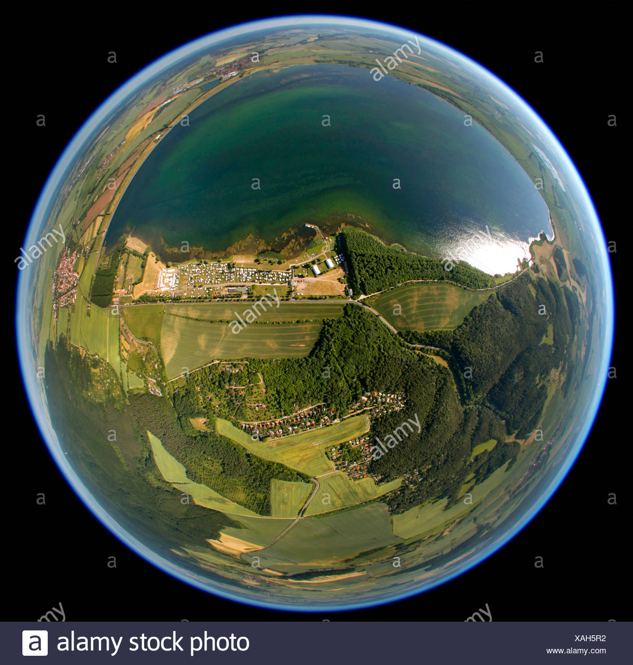 Aerial view, fisheye, swimming lake, campsite, Badra, Thuringia, Germany, Europe - Stock Image