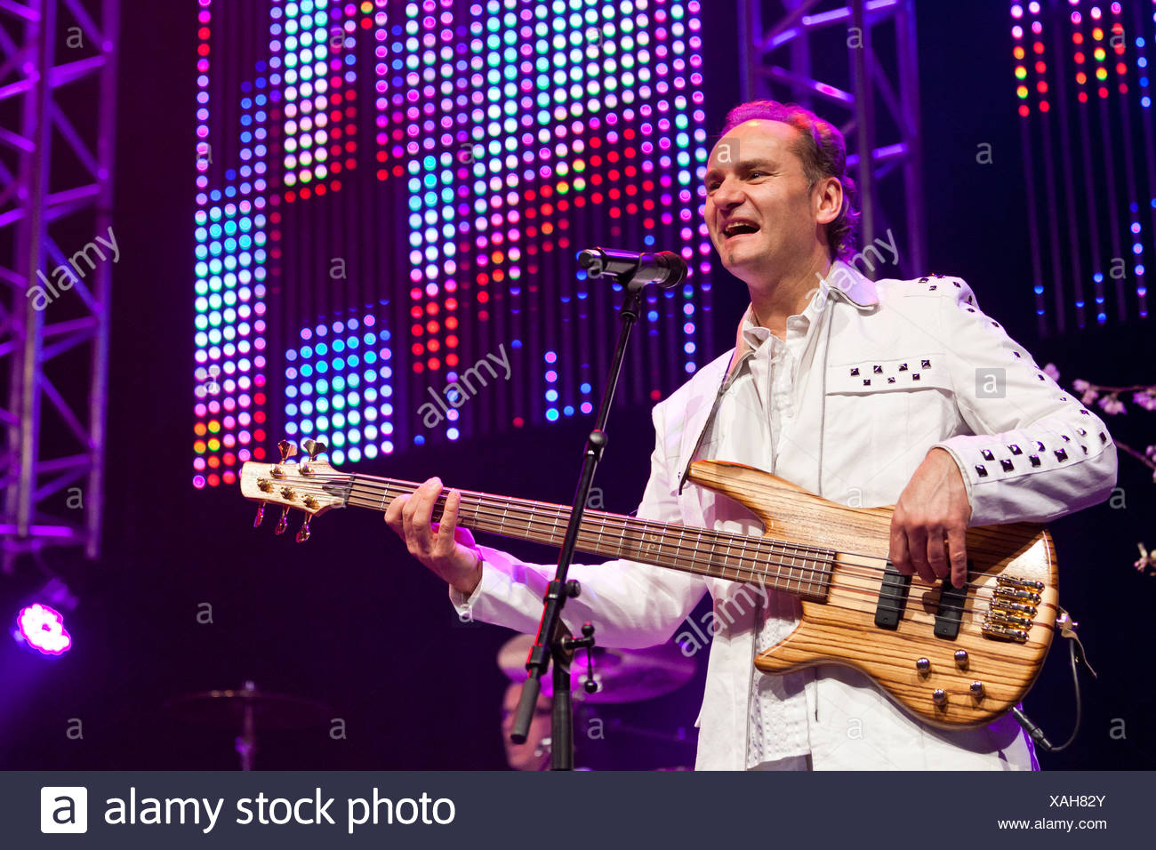 Harry Muster of the Austrian pop band 'Die Paldauer' performing live at the Schlager Nacht 2012, pop music event, in Lucerne - Stock Image