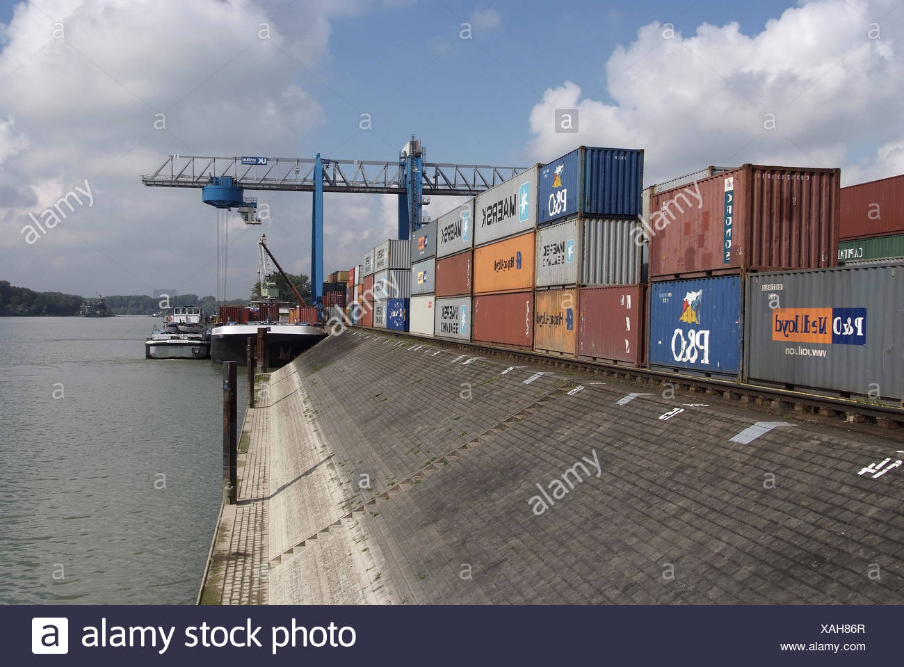 Inland harbour, shipping, Rhine, - Stock Image