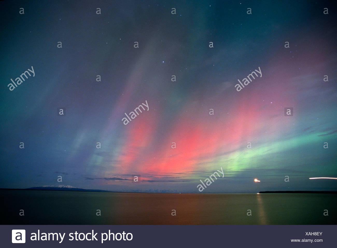 Northern Lights Over Cook Inlet & Mt Susitna, Alaska, Winter - Stock Image