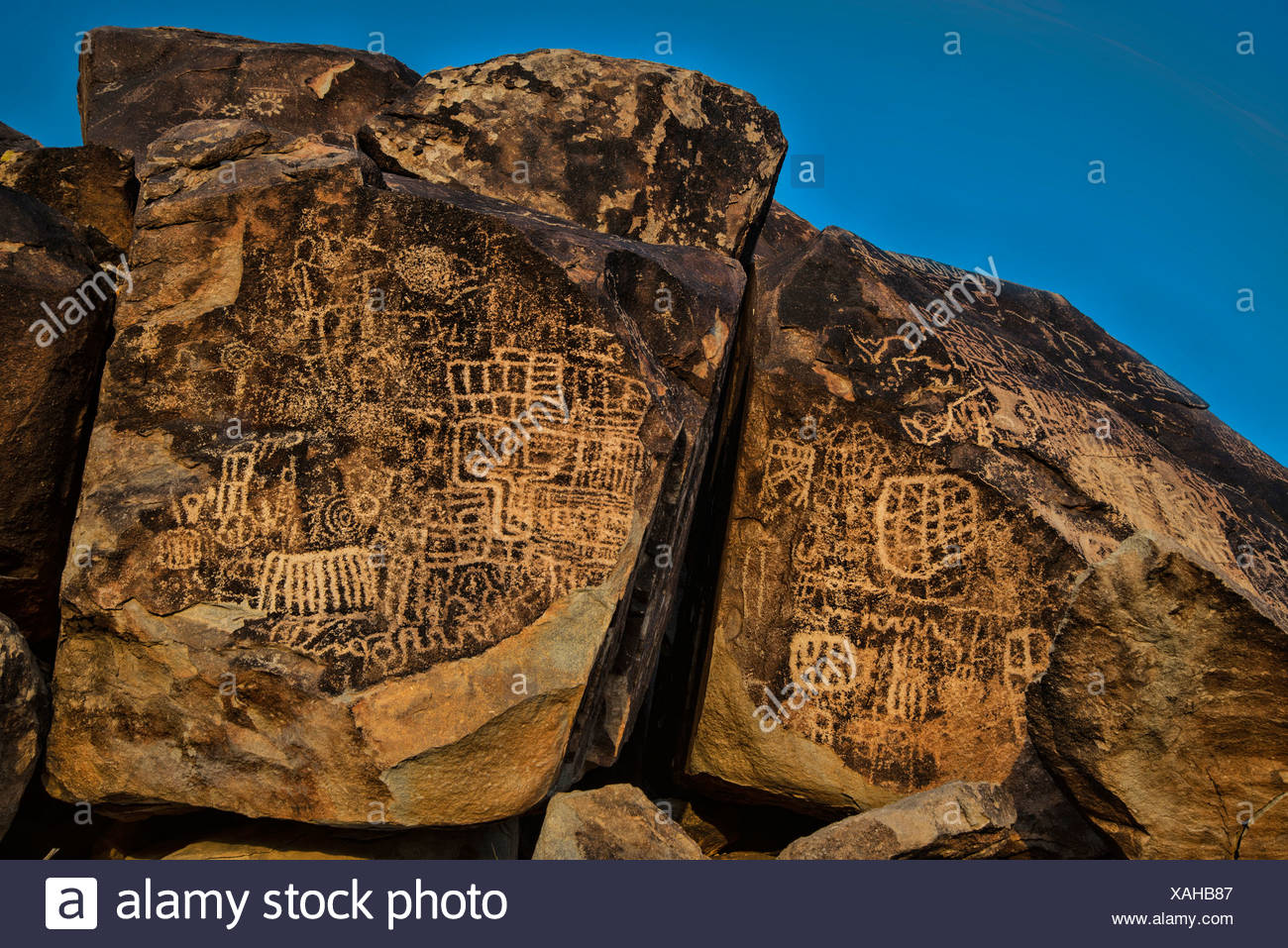prehistoric, rock art, grapevine canyon, Nevada, USA, United States, America, drawing - Stock Image