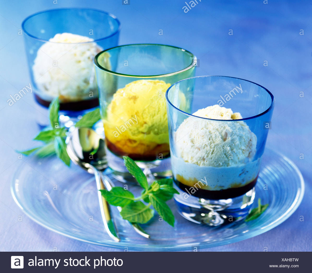Trio of ice cream - Stock Image
