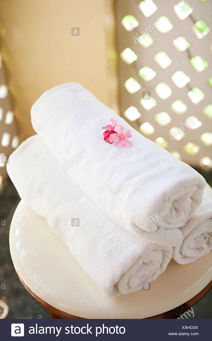 Towels at a spa - Stock Image