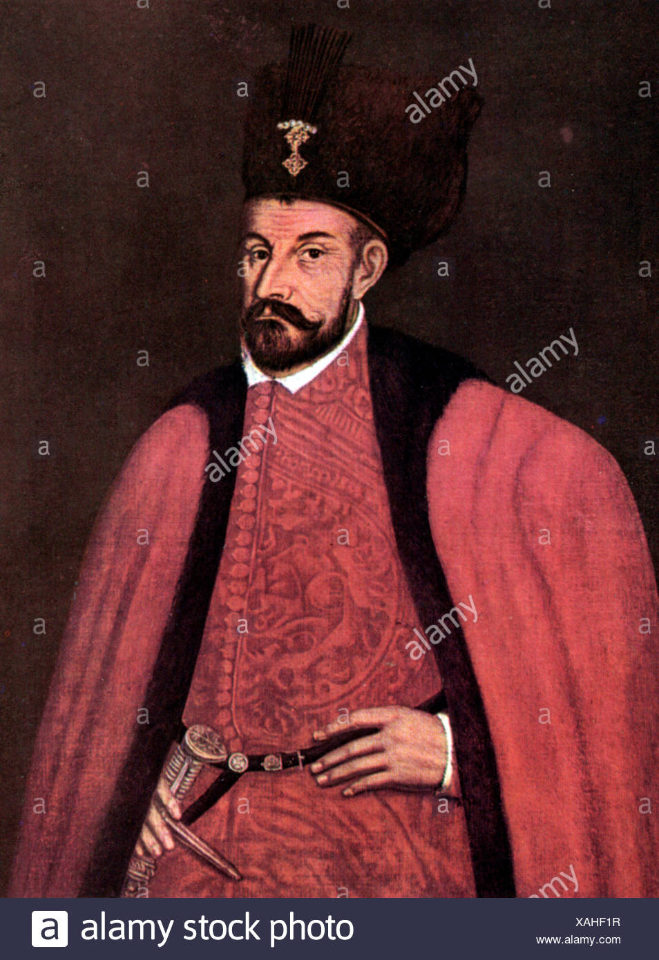 Stephen Bathory, 27.9.1533 - 12.12.1586, King of Poland 14.12.1575 - 12.12.1586, portrait, art postcard after painting, 1576, , Artist's Copyright has not to be cleared - Stock Image
