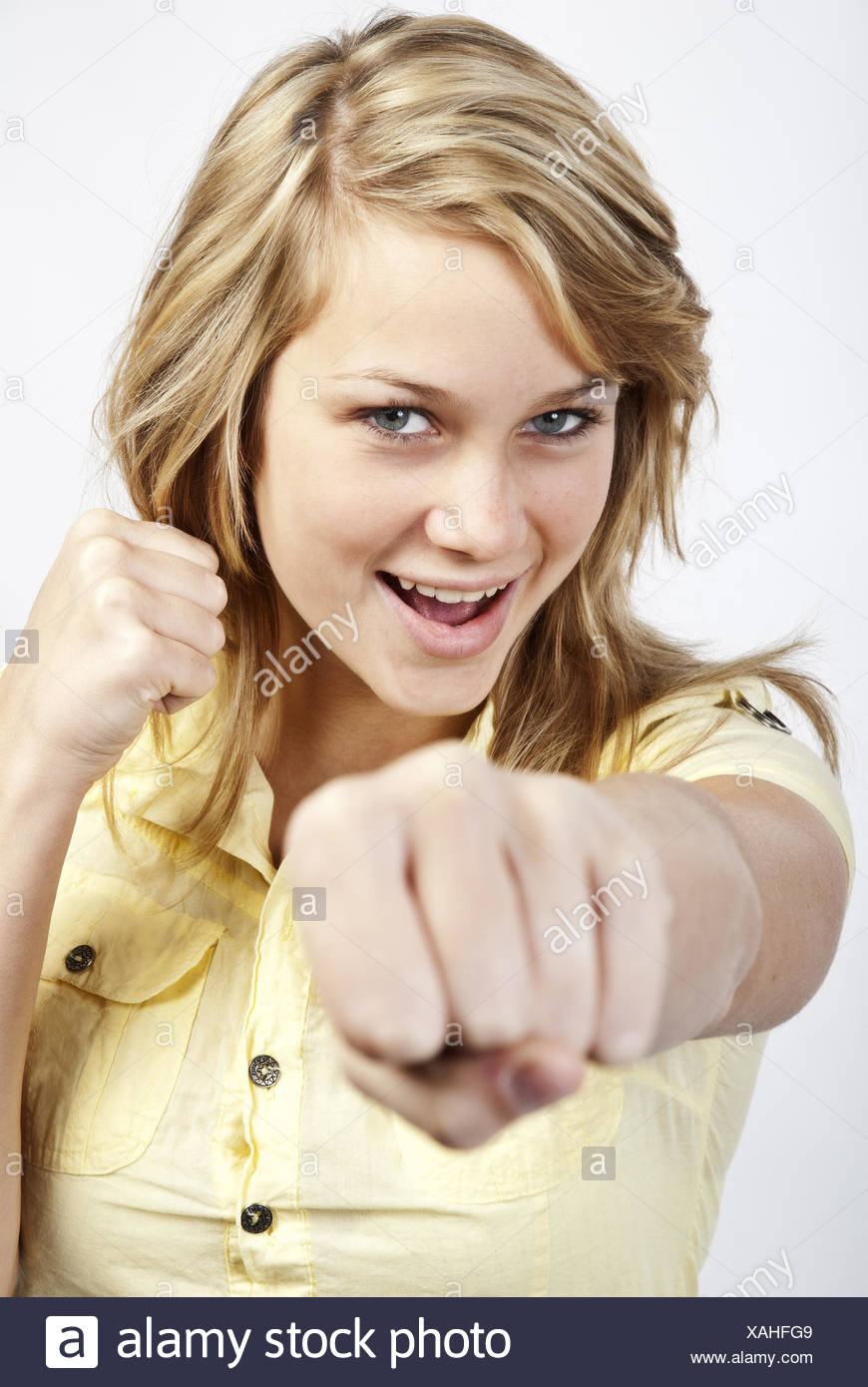 Young woman strikes - Stock Image