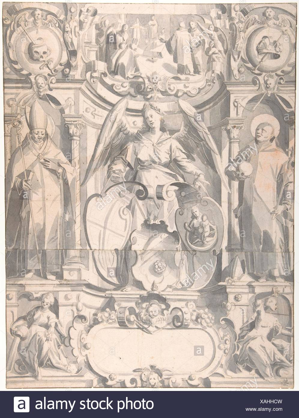 Design for a Stained Glass Window or Frontispiece with the Arms of a Cleric. Artist: Johann Heiss (German, Memmingen 1640-1704 Augsburg); Date: Stock Photo