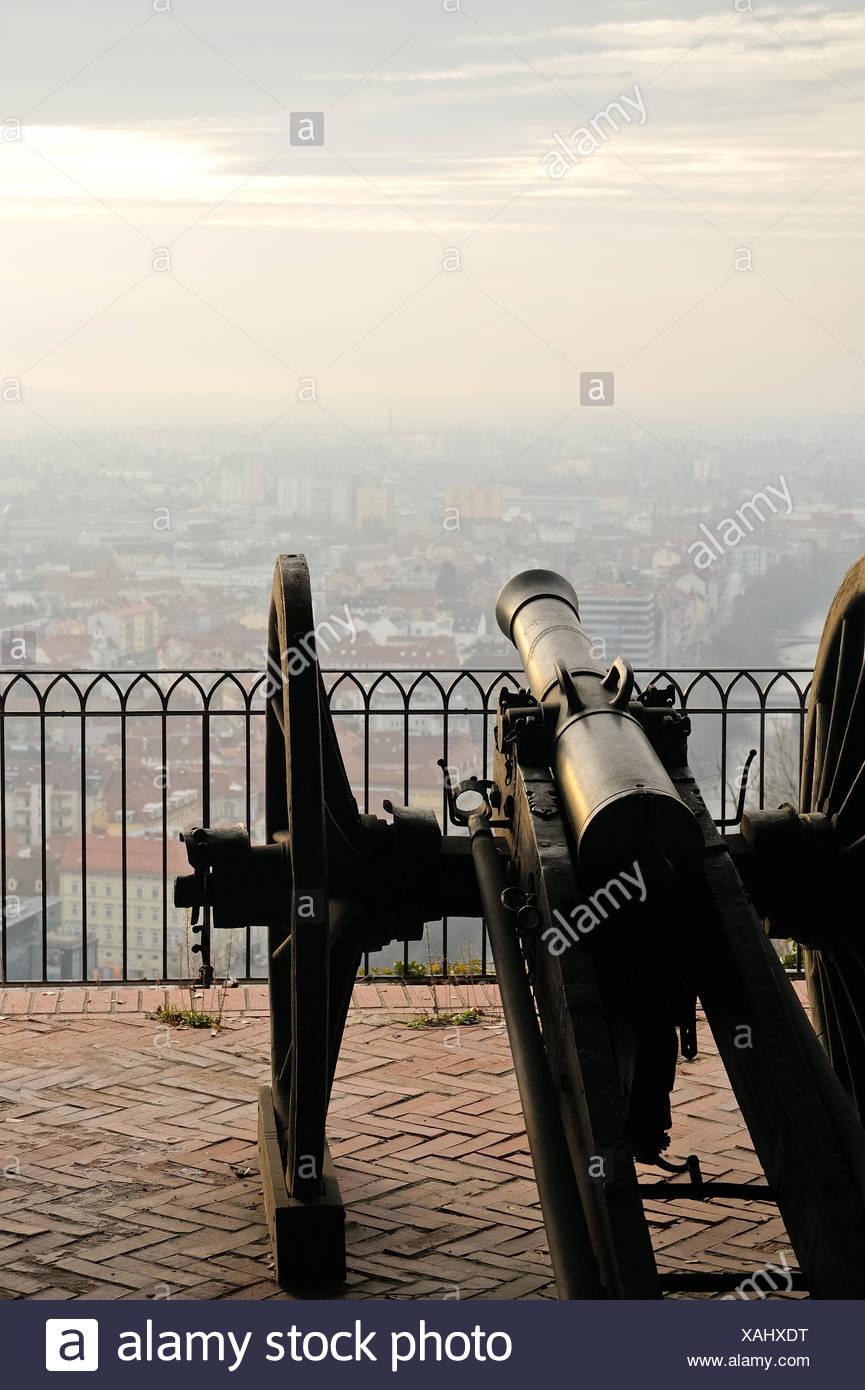 Old cannon on gun carriage aims to Graz Stock Photo