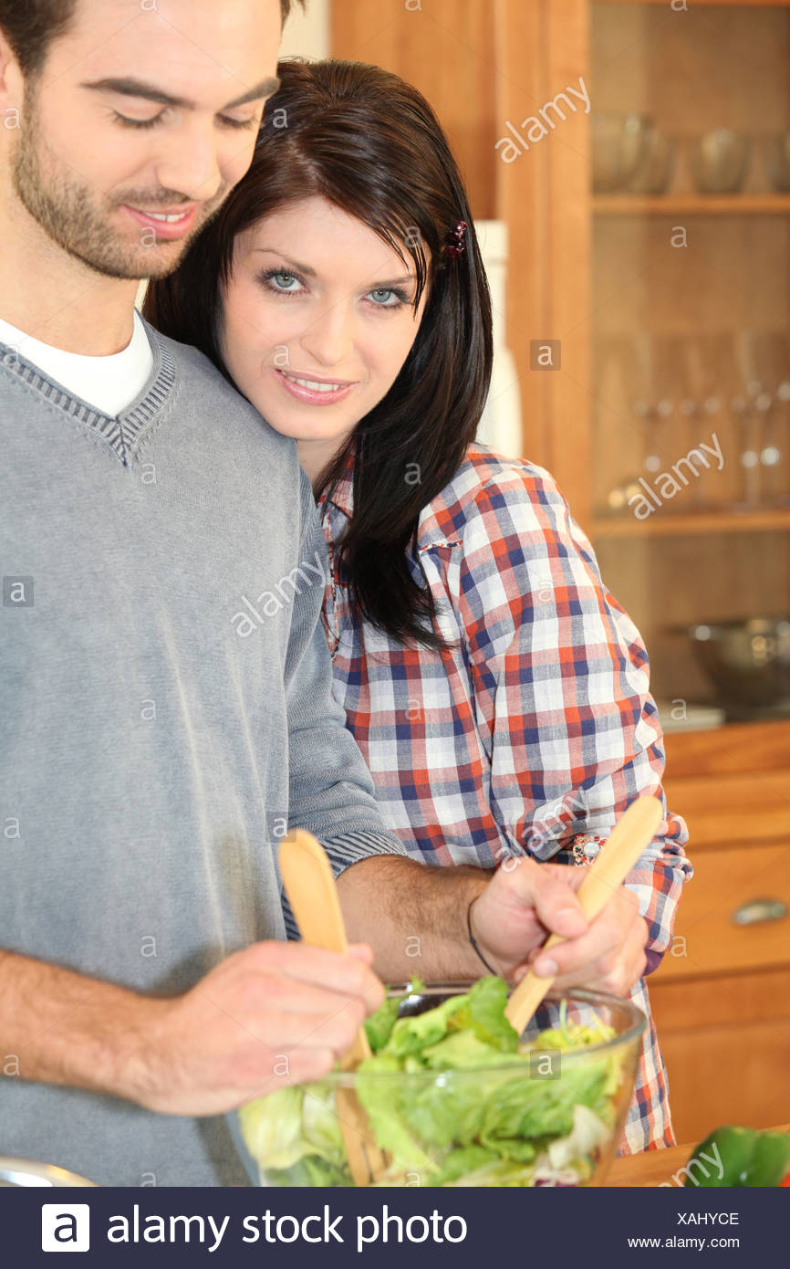 Couple preparing salad - Stock Image