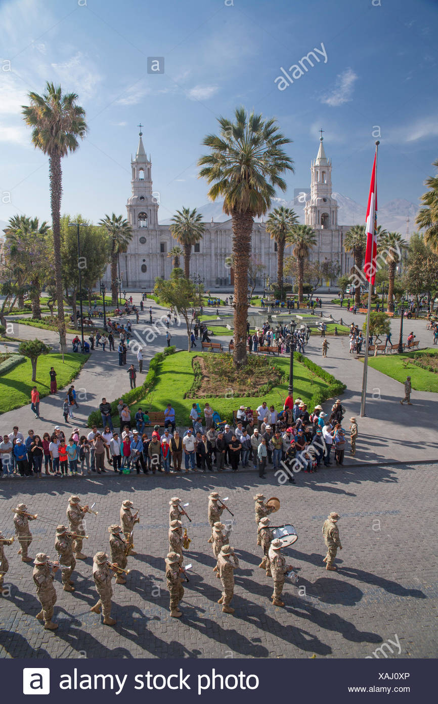Military parade on the Plaza des Armes in Arequipa, - Stock Image