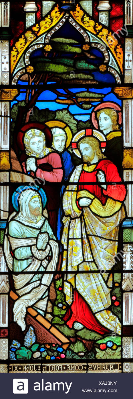 Miracles of Jesus, Raising of Lazarus, stained glass window, by Heaton Butler & Bayne, 1878, Swaffham, Norfolk, England, UK - Stock Image